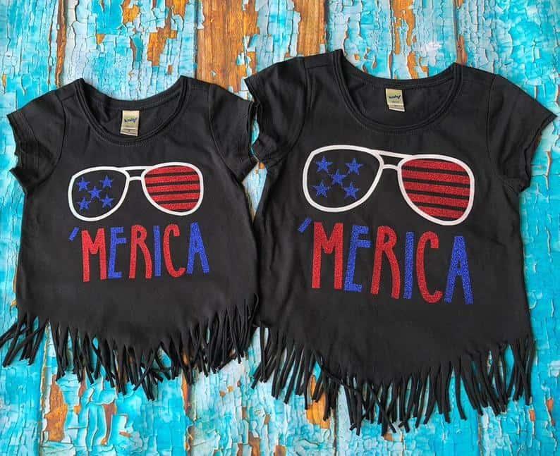 'Merica fringed shirt - etsy