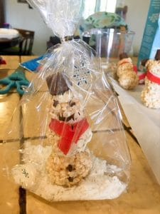 rice krispie treat snowman