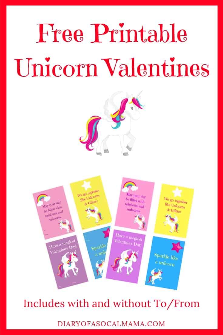 Free printable unicorn valentines