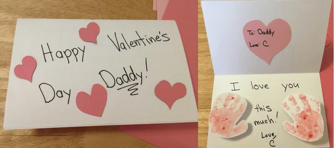 Valentine's day hand print card