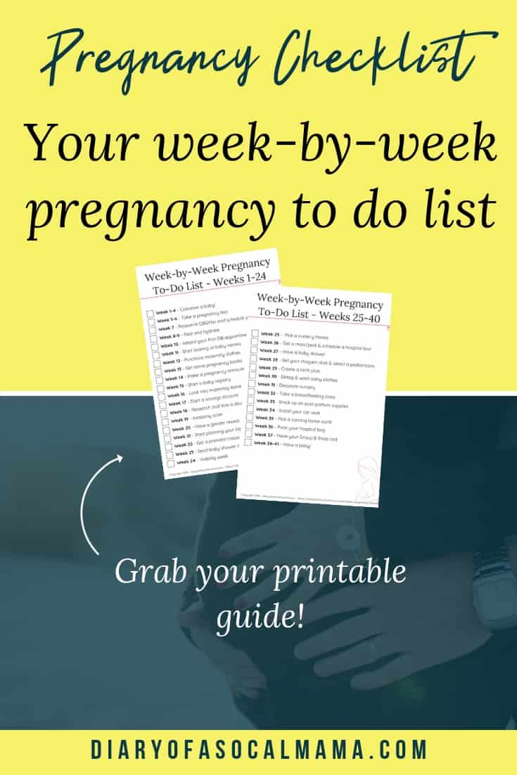 picture about Printable Pregnancy Checklist identified as Printable Being pregnant List: Least complicated 7 days by way of 7 days advisor