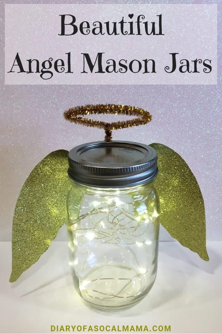 Lighted angel mason jars