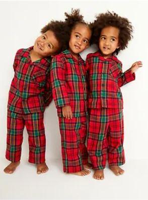 kids in christmas flannel pajamas