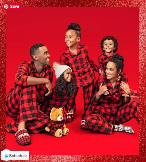 family in buffalo plaid pajamas