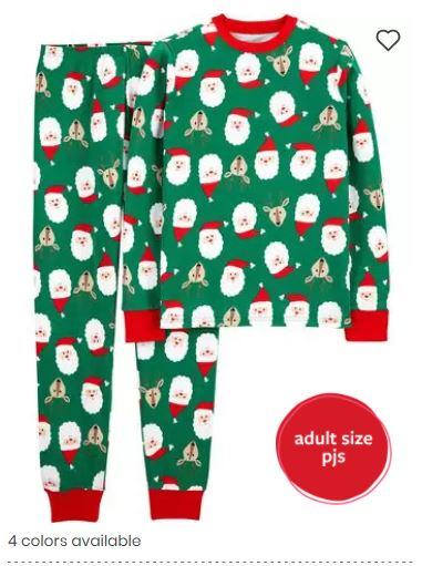 green santa christmas pajamas