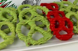 Grinch heart pretzels