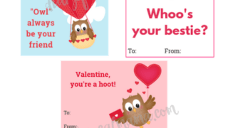 Cute Owl Valentine Cards for Kids: Free Printable