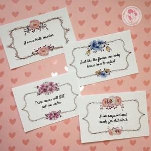 floral birth affirmation cards