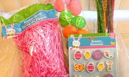 easter sensory bin items
