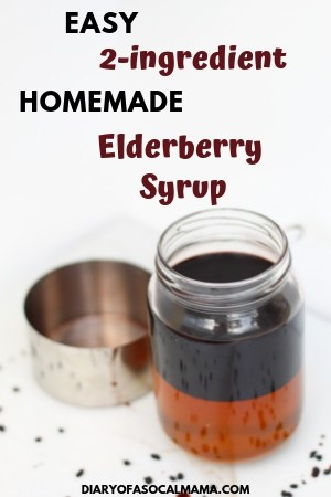 DIY your own homemade elderberry syrup with this easy 2 ingredient recipe. No need for an instant pot or crockpot for this stovetop recipe. Just elderberries, honey, and water and you'll have an immune boosting syrup to help fight cold and flu in adults and kids alike. #elderberry #recipe #diy