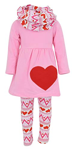 Girls 3 Piece Matching Heart Print Legging Set