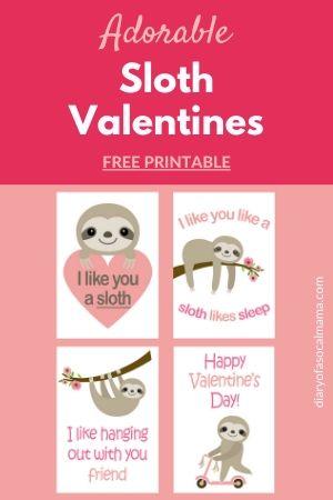 free printable sloth valentines