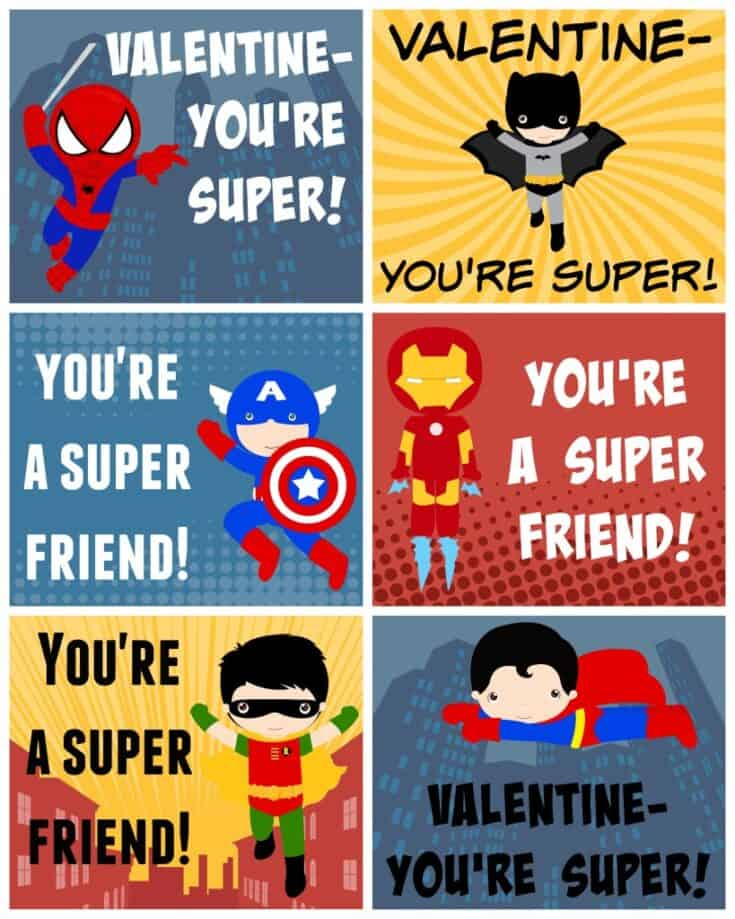 Free Printable Superhero Valentines