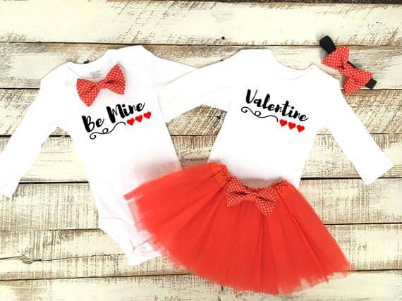 Brother Sister Matching Valentines Baby Outfits