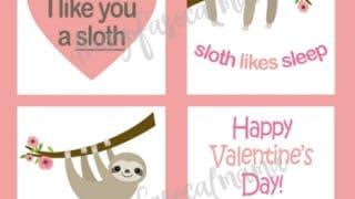 Cute Sloth Valentines {Free Printable Cards}