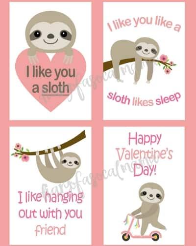printable sloth valentine cards