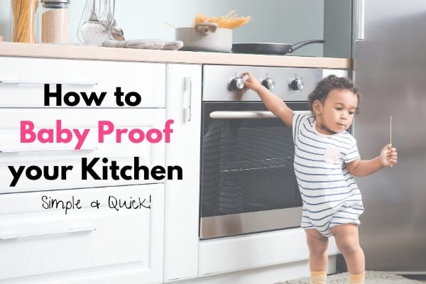 child touching stove in kitchen