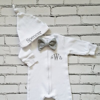baby boy monogrammed bow tie outfit