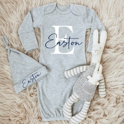 monogrammed baby boy gown