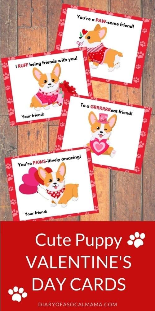 Corgi valentines for kids