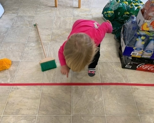toddler safety line in kitchen
