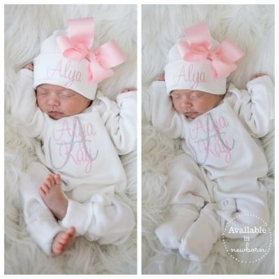 monogrammed baby girl outfit